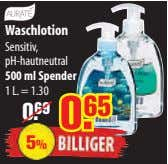 Waschlotion Sensitiv, pH-hautneutral 500 ml Spender 1 L.= 1.30 0. 69 5%