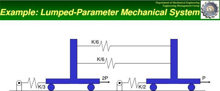 Department of Mechanical Engineering Engineering Management Group Example: Lumped Example: Lumped--Parameter Parameter Mechanical Mechanical System System