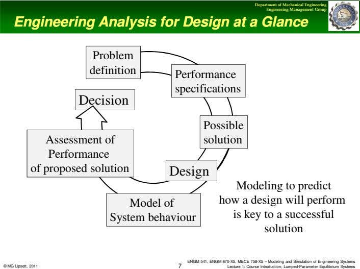 Department of Mechanical Engineering Engineering Management Group Engineering Analysis for Design at Engineering Analysis for Design