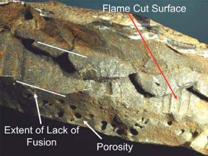 However, this was not a factor in causing the incident. Figure 5. Recovered patch plate weld
