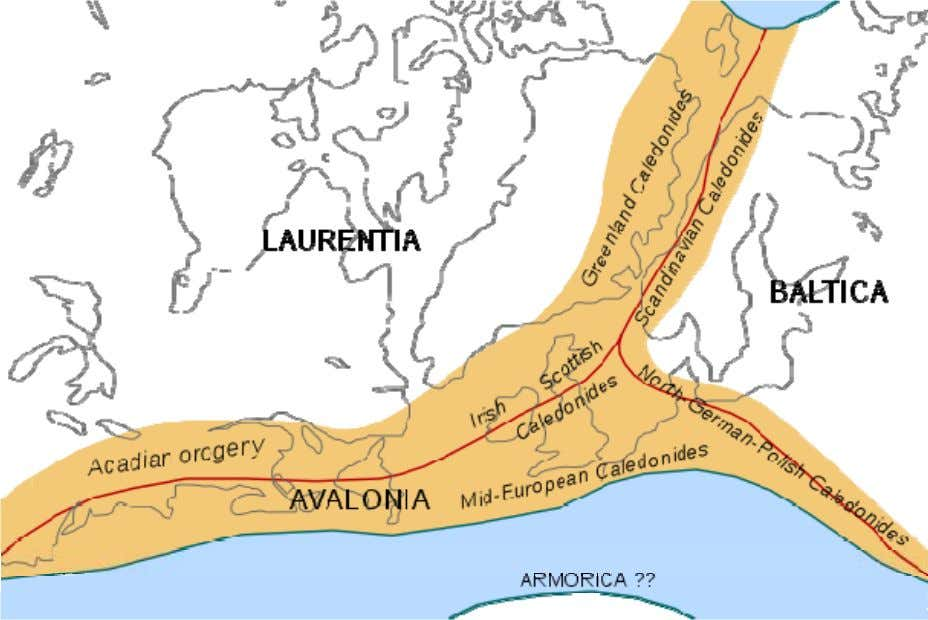Chapter- 4 Caledonian Orogeny Location of the different branches of the Caledonian/Acadian belts at the end