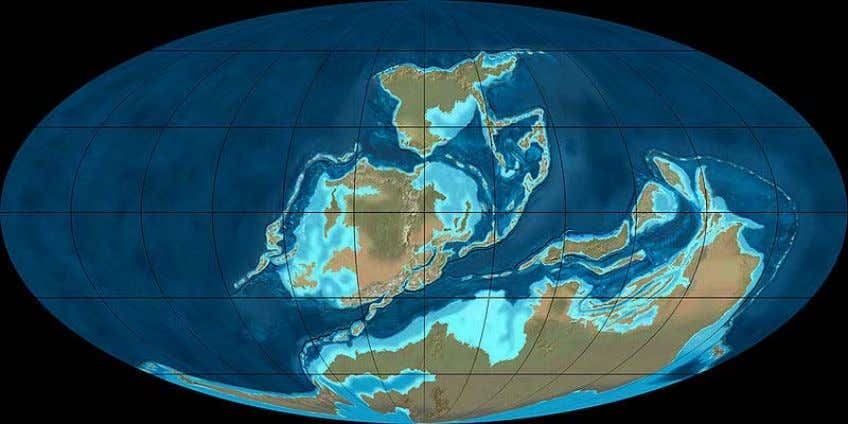 Position of the continents in the Late-D evonian epoch (about 380 million years ago). Laurentia, Baltica
