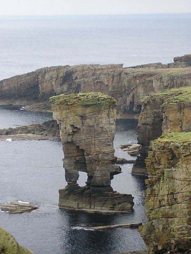 Lower Old Red Sandstone at Yesnaby, Orkney, cross-bedded aeolian sandstone The Orcadian Basin extends over a