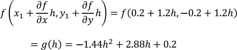2 Substituting x2, y2 values into the functions yields: For finding the maximum point along the
