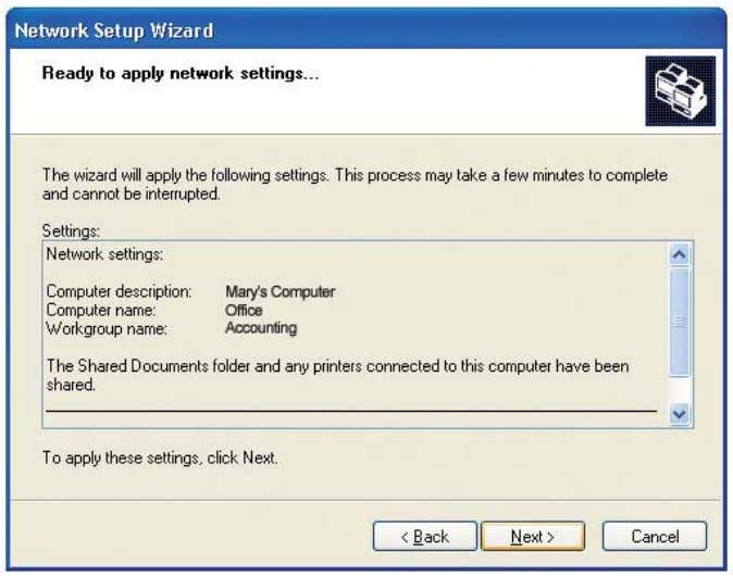 wait while the Network Setup Wizard applies the changes. When the changes are complete, click Next