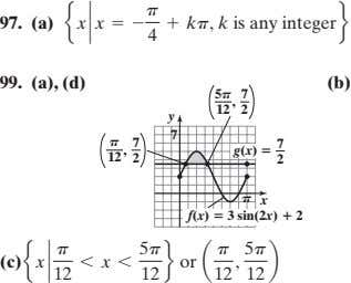 97. (a) e x ` x = - p + kp, k is any integer