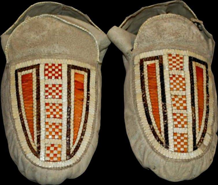 Cree Moccasins Made of Hide with Porcupine Quillwork c. 1750 - 1800 (The British Museum)