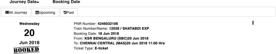 Journey Date Booking Date All Journey Upcoming Past  Wednesday 20 Jun 2018 PNR Number: