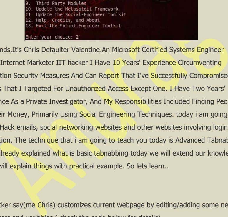 23 Section 6 – Tabnapping :- Hey friends,It's Chris Defaulter Valentine.An Microsoft Certified Systems Engineer