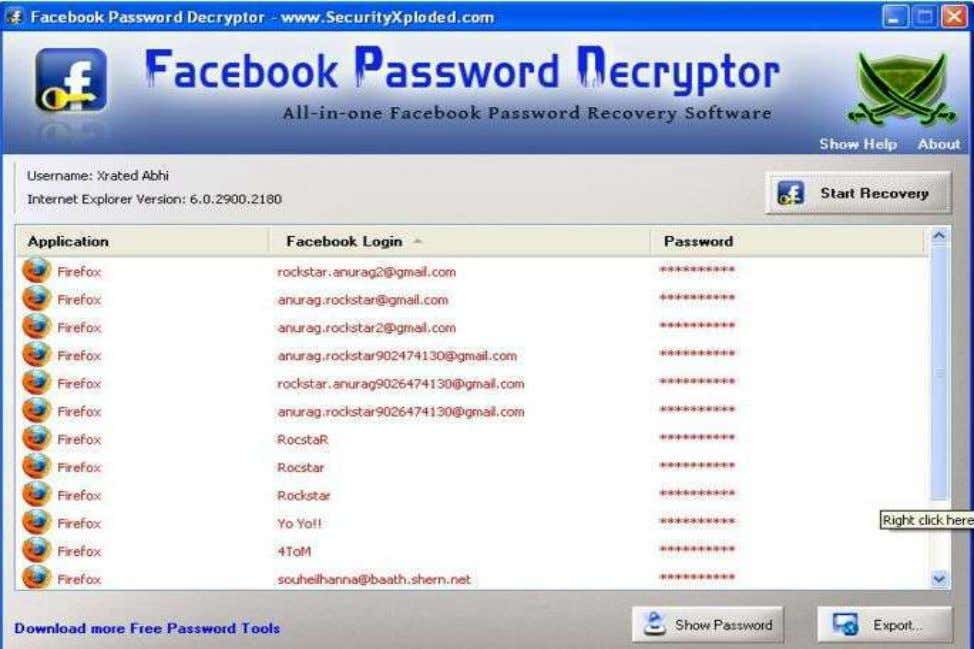 applications and instantly recovers the encrypted Facebook account password. Copyright www.cyber-worldd.blogspot.in