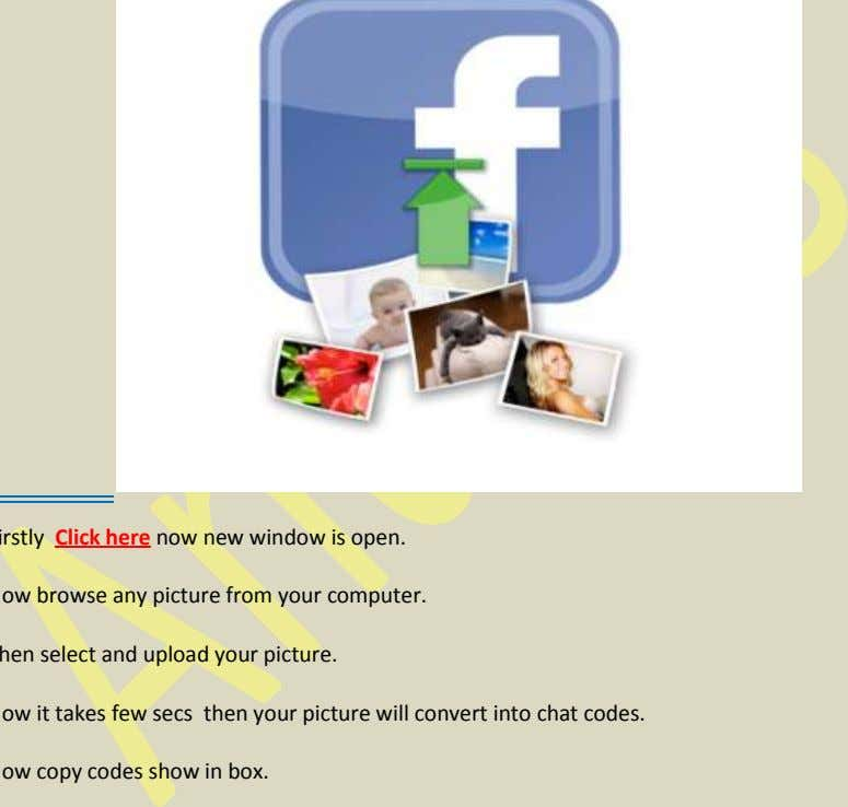 Section 17 – Convert Your Any Image In FB Chat Codes :- Firstly Click here now