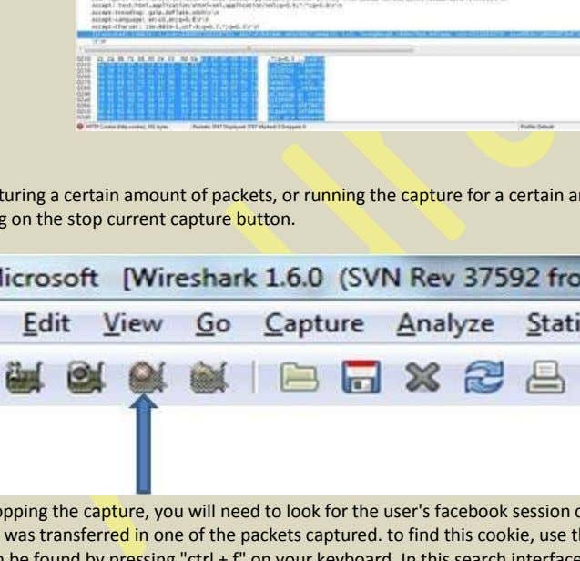 While capturing, wireshark will look something like this. After capturing a certain amount of packets, or