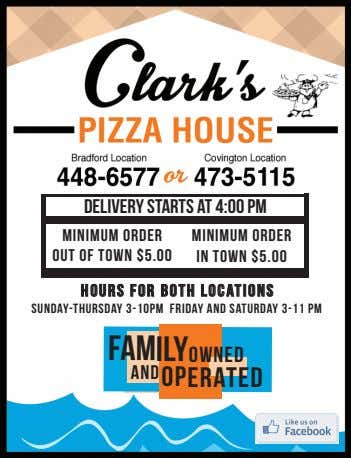 Delivery starts at 4:00 pm Minimum order out of town $5.00 Minimum order in town