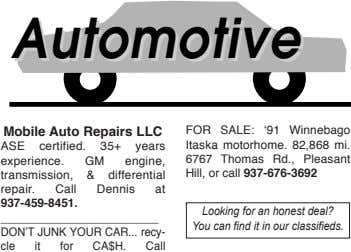 AutomotiveAutomotive MobileAutoRepairsLLC ASE certified. 35+ years experience. GM engine, transmission, &