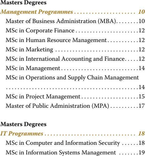 Masters Degrees Management Programmes � � � � � � � � � � �
