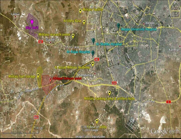 A/68/663 S/2013/735 Figure 3.1 The Khan Al Asal area west of Aleppo is indicated in red.