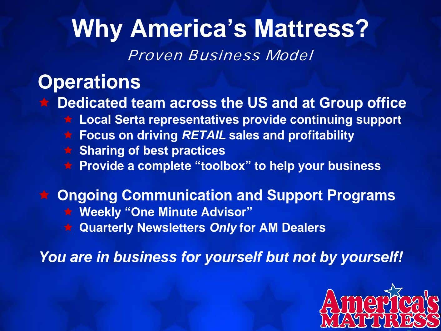 Why America's Mattress? Proven Business Model Operations Dedicated team across the US and at Group