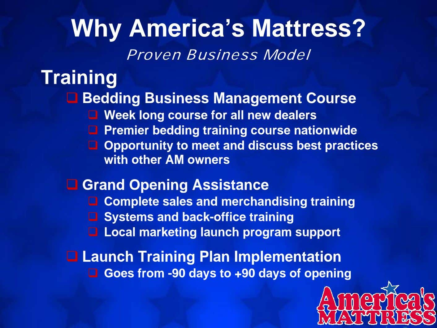 Why America's Mattress? Proven Business Model Training Bedding Business Management Course Week long course for