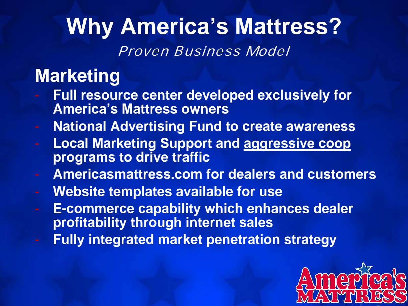 Why America's Mattress? Proven Business Model Marketing - Full resource center developed exclusively for America's