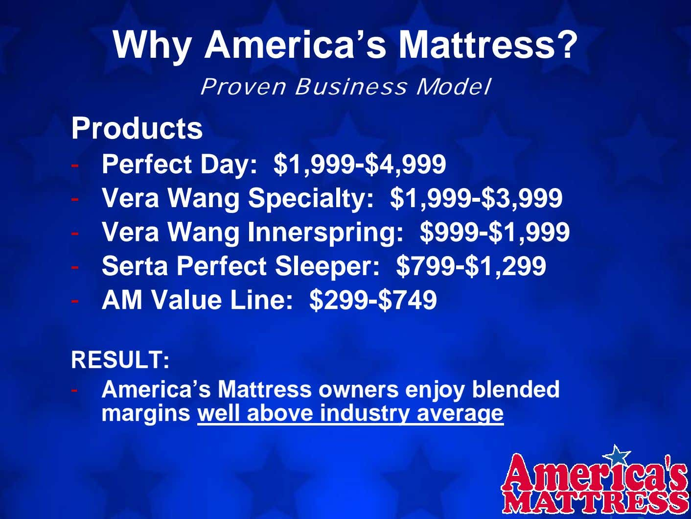Why America's Mattress? Proven Business Model Products - Perfect Day: $1,999-$4,999 - Vera Wang Specialty: