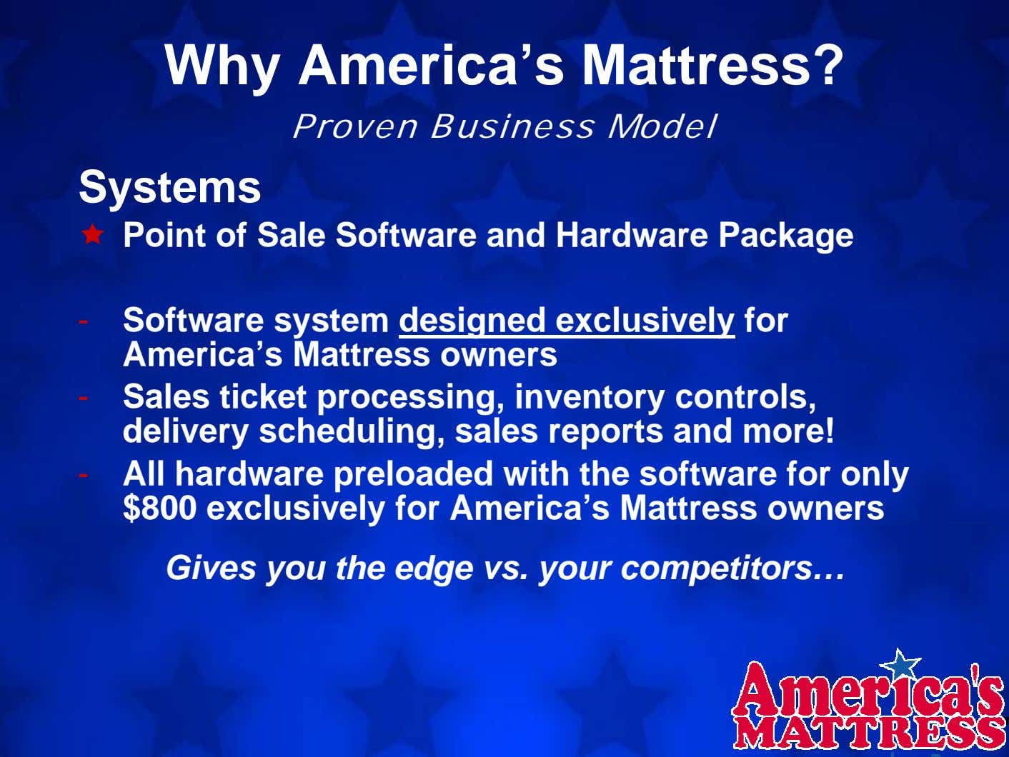 Why America's Mattress? Proven Business Model Systems Point of Sale Software and Hardware Package -