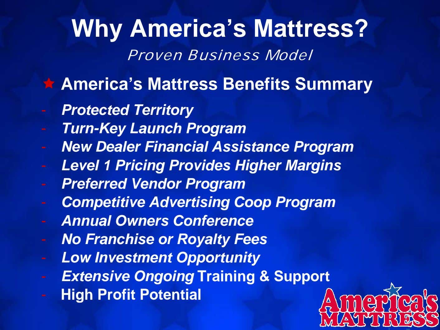 Why America's Mattress? Proven Business Model America's Mattress Benefits Summary - Protected Territory -