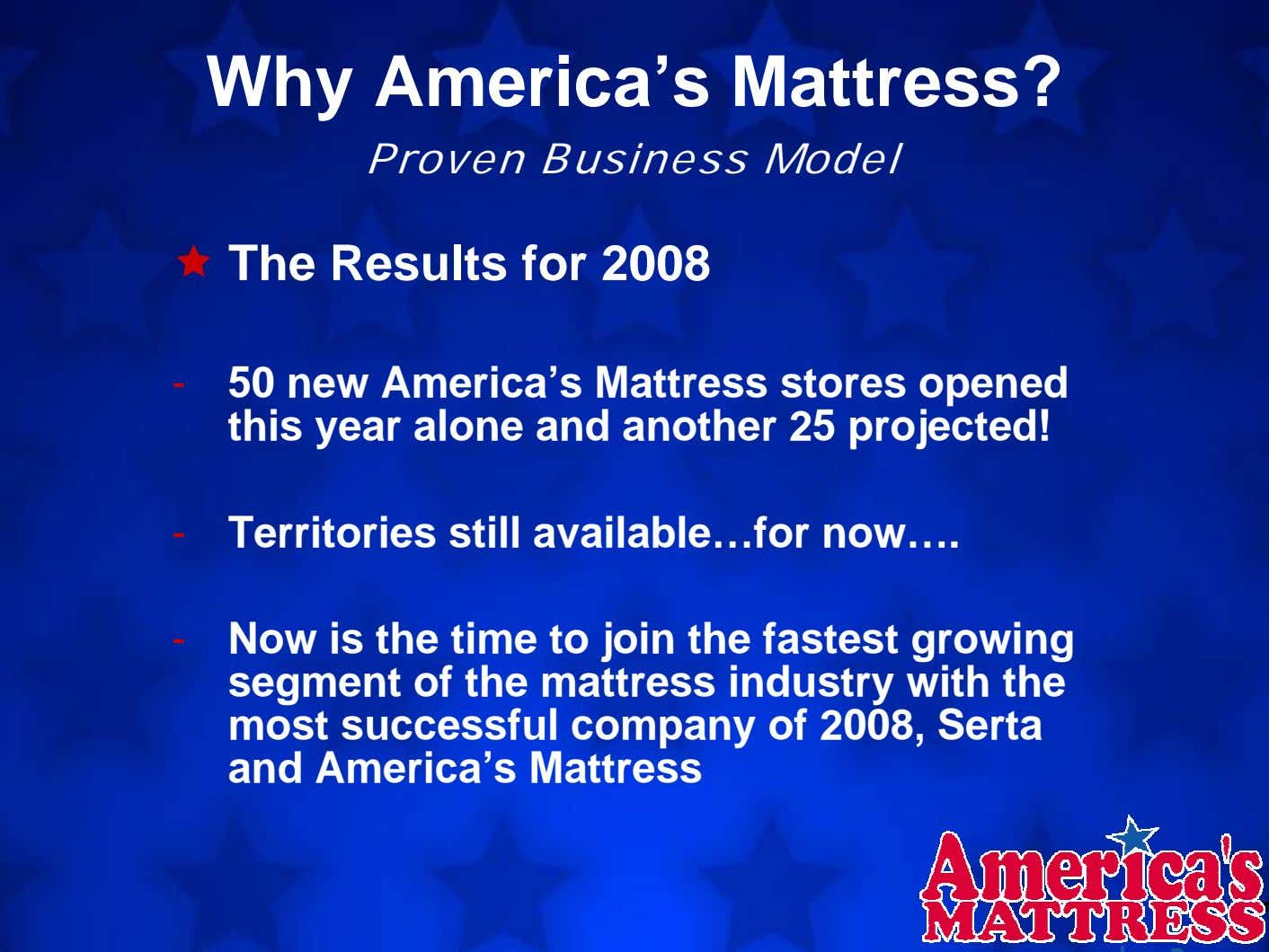 Why America's Mattress? Proven Business Model The Results for 2008 - 50 new America's Mattress