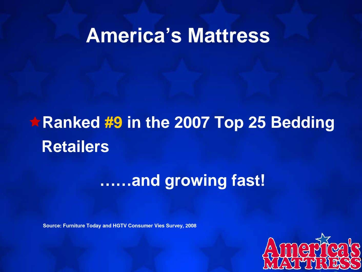 America's Mattress Ranked #9 in the 2007 Top 25 Bedding Retailers ……and growing fast! Source: