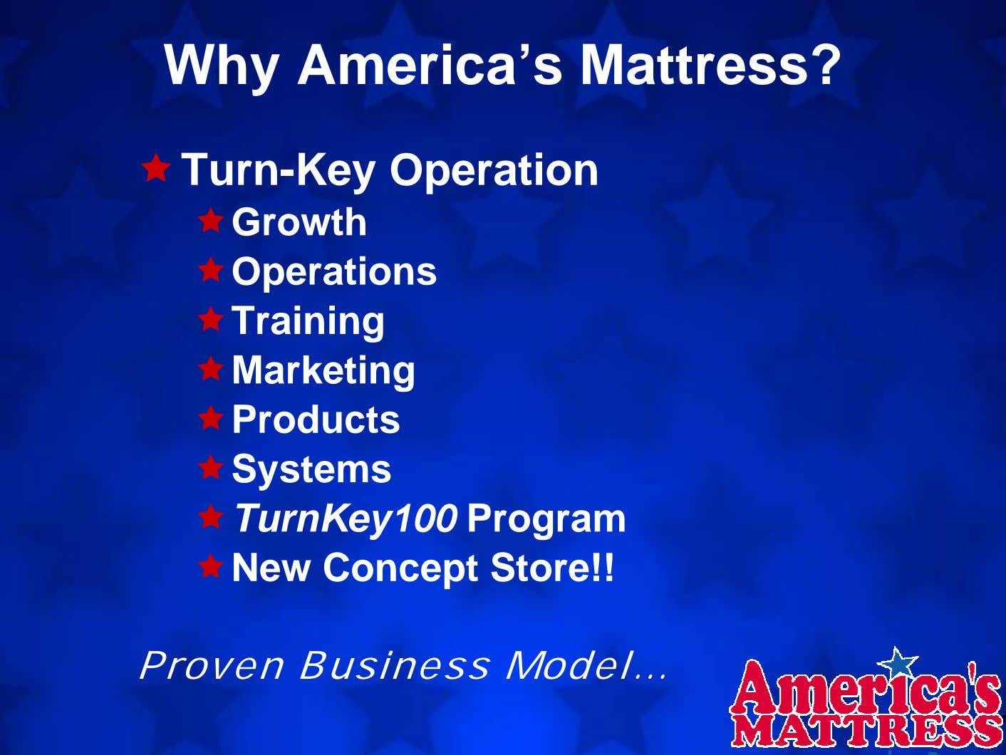 Why America's Mattress? Turn-Key Operation Growth Operations Training Marketing Products Systems