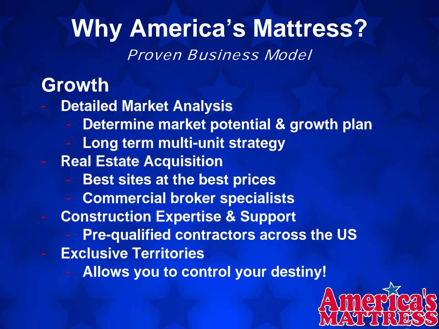 Why America's Mattress? Proven Business Model Growth - Detailed Market Analysis - Determine market potential