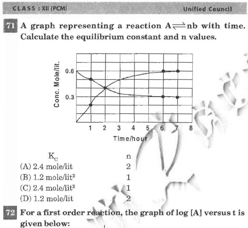 II A graph representing a reaction aセョ「@ with time. Calculate the equilibrium constant and n