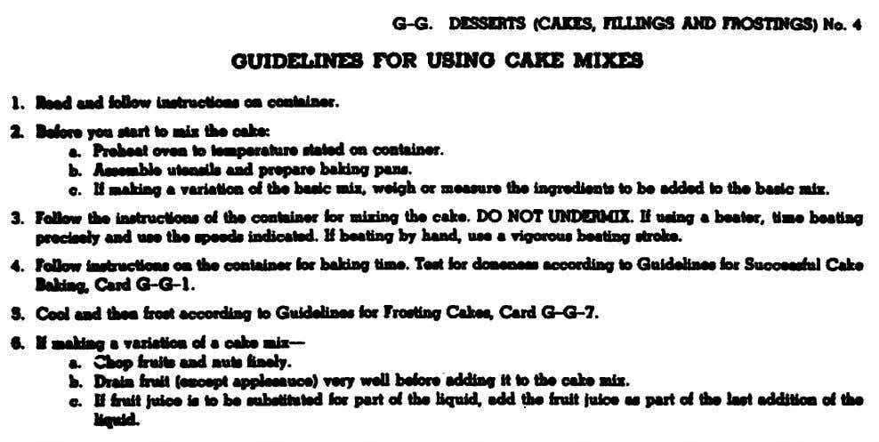 Figure 21. Guidelines from Armed Forces Recipe Service for using cake mixes. 106