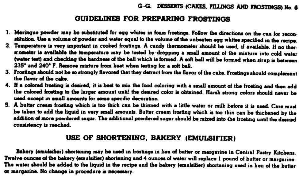 Figure 22. Guidelines for preparing frostings from Armed Forces Recipe Service. 108