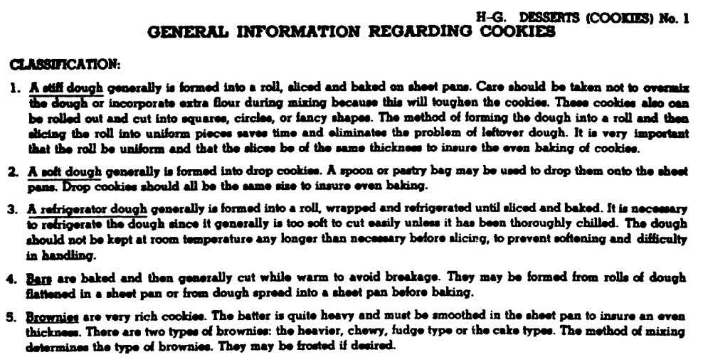 and figure 27 gives guidelines for successful cookie baking. Figure 26. General information regarding cookies from