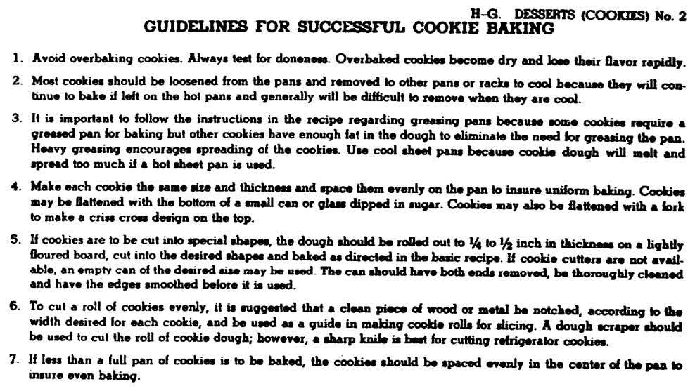 should help in controlling the quality of these desserts: Figure 27. Guidelines for successful cookie baking