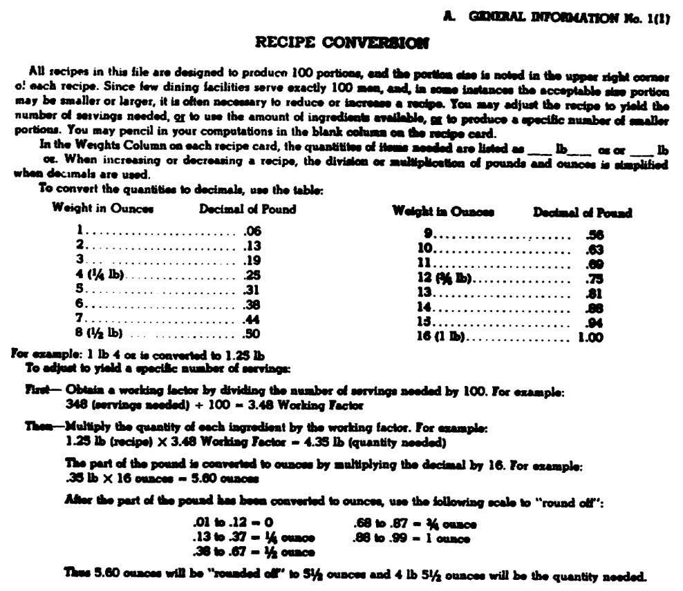 Figure 28. Information from Armed Forces Recipe Service for adjusting the yield of a standard