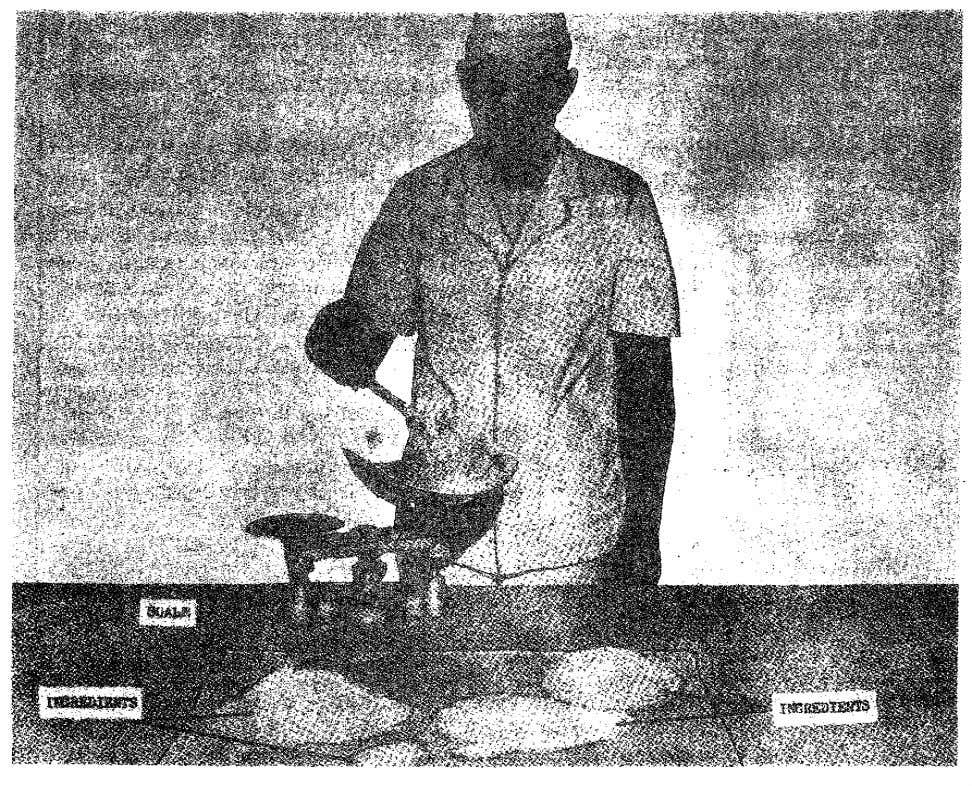 Figure 3. Weighing ingredients for a standard recipe. 15