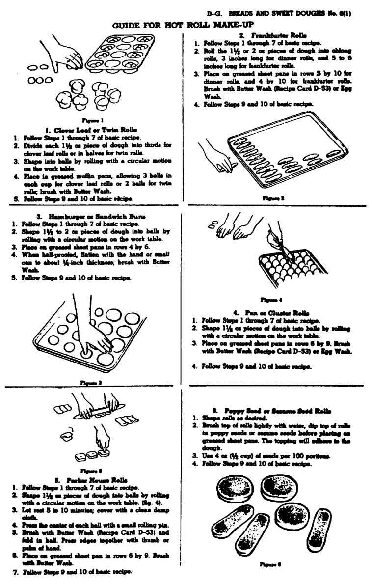 Figure 7. Guide for hot-roll makeup from Armed Forces Recipe Service. 73