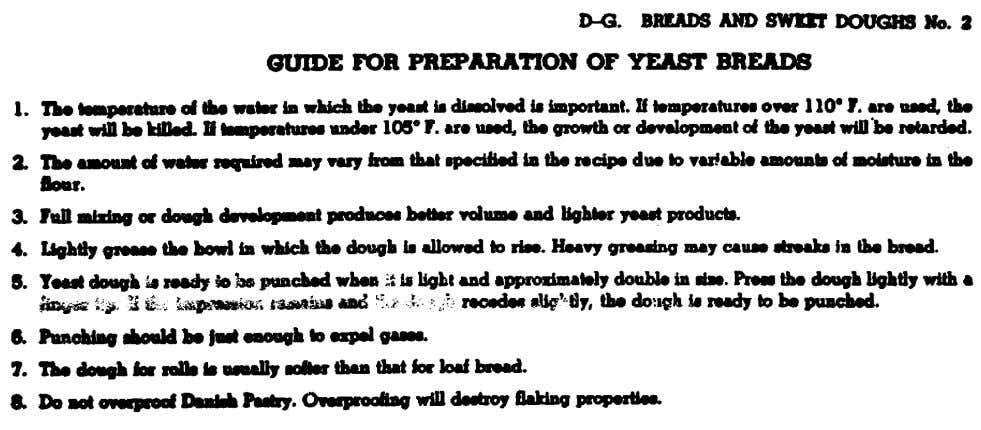 Figure 11. Guide from Armed Forces Recipe Service for preparation of yeast breads. 78