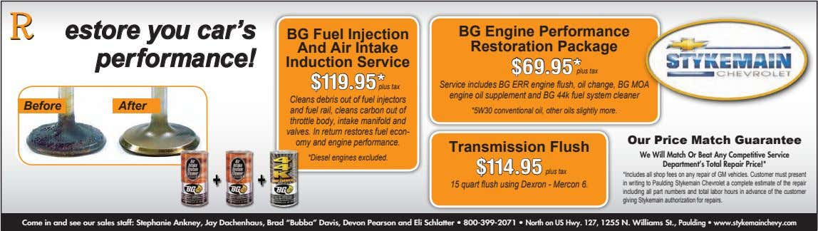 RRestore you car's performance! BG Fuel Injection And Air Intake Induction Service BG Engine Performance