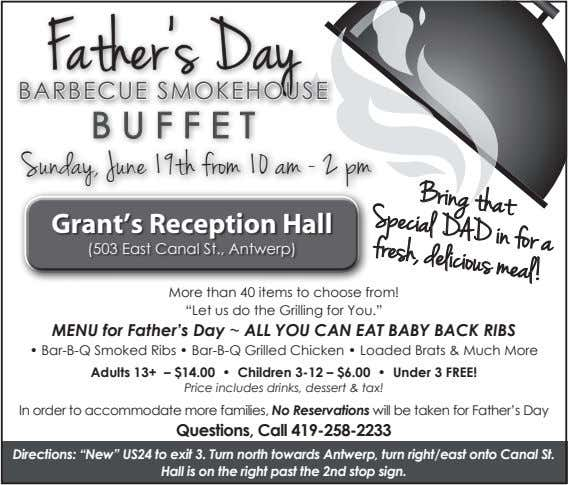 Father's Day BARBECUE SMOKEHOUSE BUFFET Bring that in for a Sunday, June 19th from 10