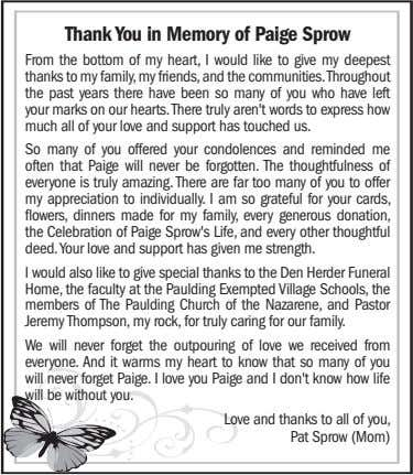Thank You in Memory of Paige Sprow From the bottom of my heart, I would