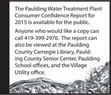 The Paulding Water Treatment Plant Consumer Confidence Report for 2015 is available for the public.