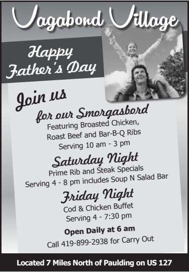 Vagabond Village Happy Day Father's for our Smorgasbord Featuring Broasted Chicken, Roast Beef and Bar-B-Q