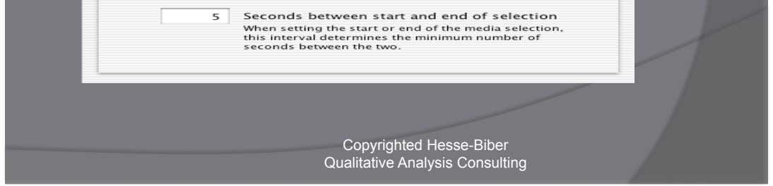 HyperTRANSCIBE T M Simple control over timing options Copyrighted Hesse-Biber Qualitative Analysis Consulting