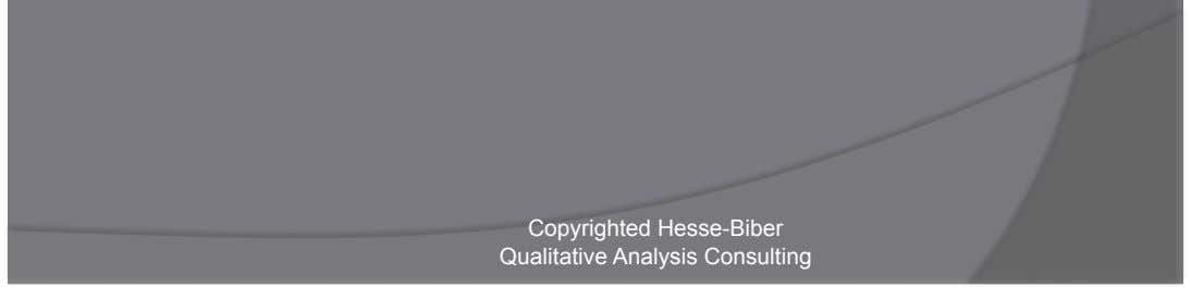 Import quantitative data    Detailed summary reports Copyrighted Hesse-Biber Qualitative Analysis Consulting