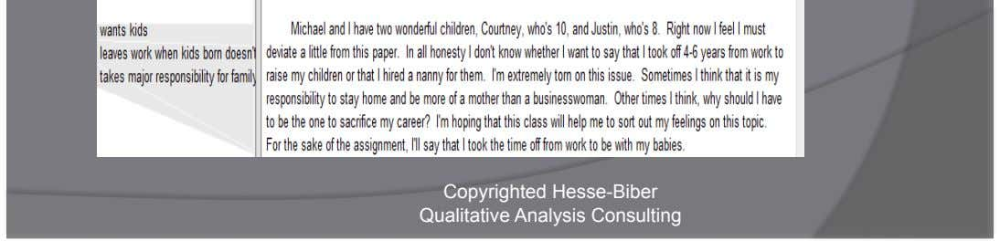 View codes in context Copyrighted Hesse-Biber Qualitative Analysis Consulting