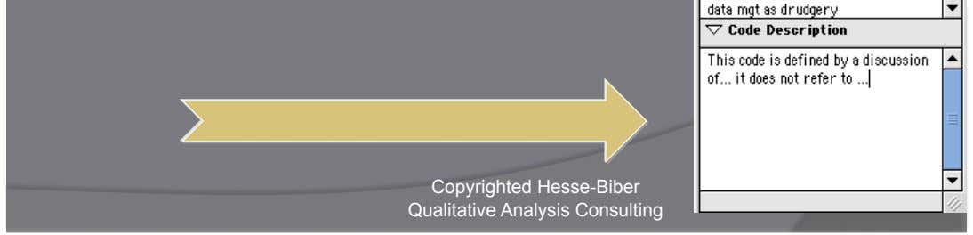 Code List    Define code categories on the    fly Copyrighted Hesse-Biber Qualitative Analysis