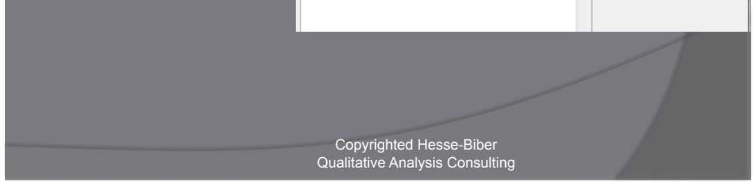 or Codes    Overlaps    Includes    Equals Copyrighted Hesse-Biber Qualitative Analysis Consulting