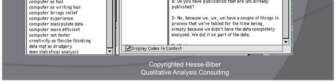Add Codes to Text Copyrighted Hesse-Biber Qualitative Analysis Consulting